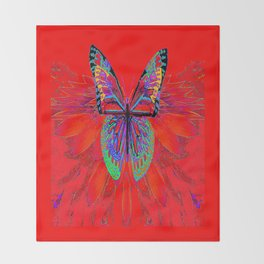 Infra-red Fantasy Butterfly Pattern Abstract Throw Blanket