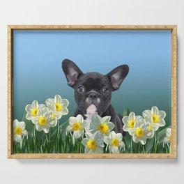 French Bulldog in Daffodils Field Serving Tray