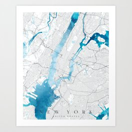a map of NEW YORK - blue edition Art Print
