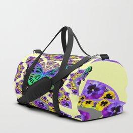 PURPLE  PANSIES & EXOTIC BUTTERFLY GEOMETRIC DESIGN Duffle Bag