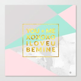 Geometric with love text Canvas Print