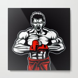 fighter mascot fighter pose ready to fighting Metal Print