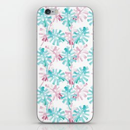 PINK AND GREEN PALM LEAFS - TROPICO iPhone Skin