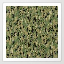 Digital Camouflage Pattern Art Print