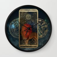 zodiac Wall Clocks featuring Zodiac : Leo by Andre Sanchez