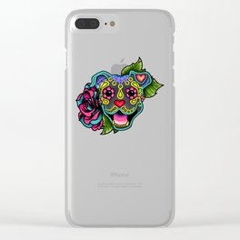 Smiling Pit Bull in Blue - Day of the Dead Pitbull Sugar Skull Clear iPhone Case