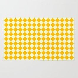 Cream Yellow and Amber Orange Diamonds Rug