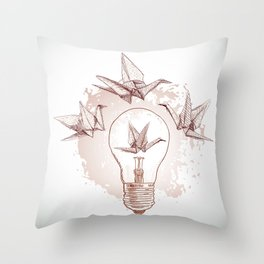 Origami paper cranes and light Throw Pillow