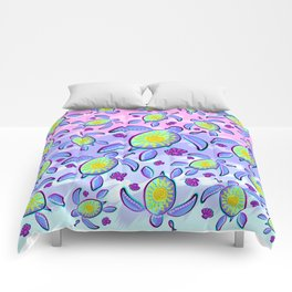 Sea Turtle and Sun Abstract Glitch Ultraviolet Symbol Comforters