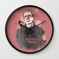 johnlock Wall Clocks featuring Shaving by Monika Gross