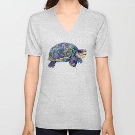 Turtle children artwork illustration blue purple teal animal art Unisex V-Neck