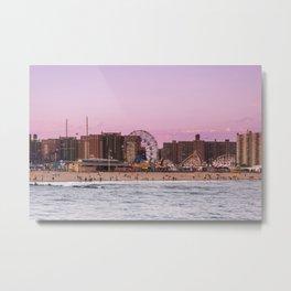 Sunset on the beach of Luna Park in Coney Island New York City Metal Print