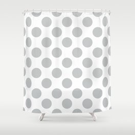 Light Grey Large Polka Dots Pattern Shower Curtain