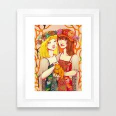 Snow White and Rose Red Framed Art Print