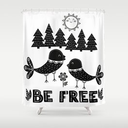 Be Free Birds In Cute Scandinavian Style Shower Curtain