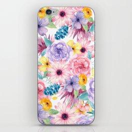Modern elegant pink lavender yellow watercolor floral iPhone Skin
