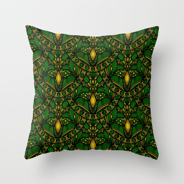 Emerald Scales Throw Pillow