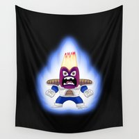 dragon ball z Wall Tapestries featuring ANGER BALL Z by DROIDMONKEY