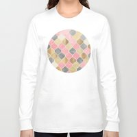 bedding Long Sleeve T-shirts featuring Silver Grey, Soft Pink, Wood & Gold Moroccan Pattern by micklyn