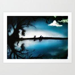 Illusory Lake (Hidden Faces) Art Print