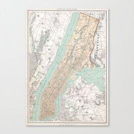 Vintage Map of New York City (1895) Canvas Print
