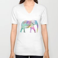 elephant V-neck T-shirts featuring Elephant by nessieness