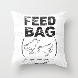 FEED BAG/Black & White Throw Pillow