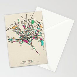 Colorful City Maps: Monterrey, Mexico Stationery Cards