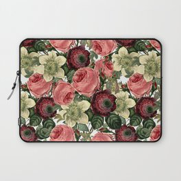 Vintage & Shabby Chic - Pink and Red Roses Retro Pattern Laptop Sleeve