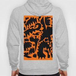 Halloween Monsters and Bats in the orange night Hoody