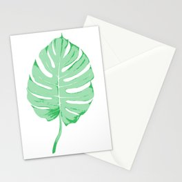 Green Monstera Leaf Stationery Cards