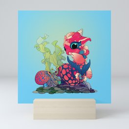 Baby Water Dragon with a Little Cephalopod Mini Art Print