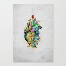 Flowers colorful heart watercolor Canvas Print