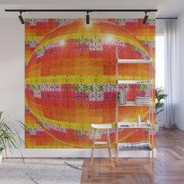 High Definition Retro Disco Ball Orange Pattern Wall Mural