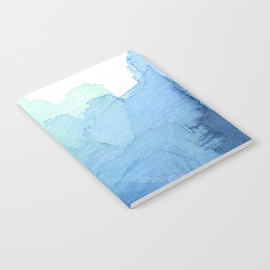 Abstract Watercolor Texture Blue Green Notebook
