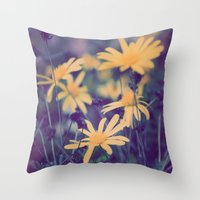 woodstock Throw Pillows featuring Woodstock Daisy  by Scotty Photography