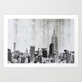 New York City Skyline Gray Texture Art Print