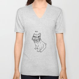 Hello Frenchie Unisex V-Neck