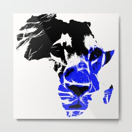 Africa Lion :Blue Metal Print
