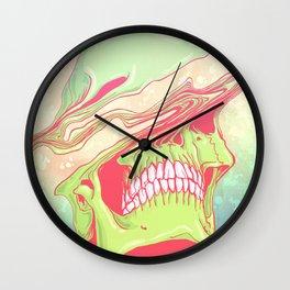 Liquify candy colored skull illustration  Wall Clock