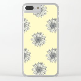 Yellow Flower Pattern Clear iPhone Case