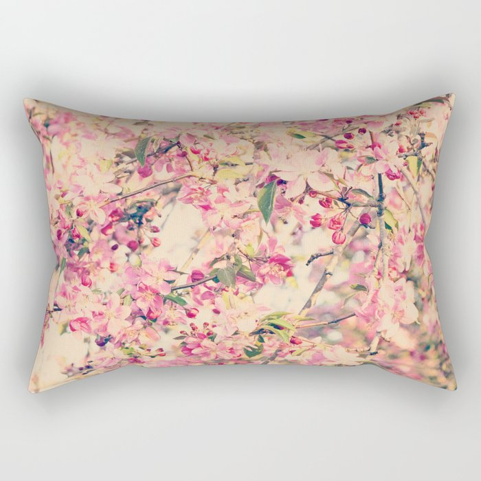 Vintage Pink Crabapple Tree Blossoms in the Sun Rectangular Pillow
