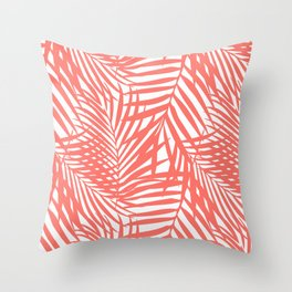Palm Fronds in Living Coral Throw Pillow
