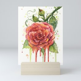 Red Rose Dripping Watercolor Flower Mini Art Print