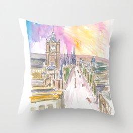 Edinburgh Princess Street at Sunset Throw Pillow