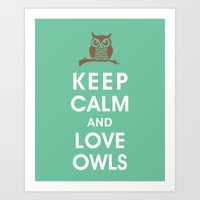 Keep Calm and Love Owls Art Print