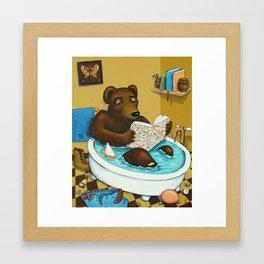 Bookish Bear Bathing Framed Art Print