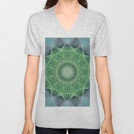 Ornamented mandala in green and blue colors Unisex V-Neck