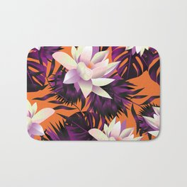 Botanic pattern orange Bath Mat