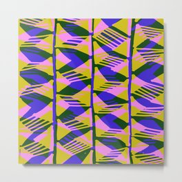 crazy zig zags blue yellow Metal Print
